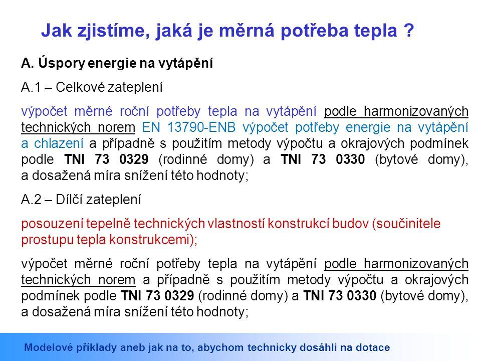 A. Úspory energie na vytápění A.1 – Celkové zateplení výpočet měrné roční potřeby tepla na vytápění podle harmonizovaných technických norem EN 13790-E