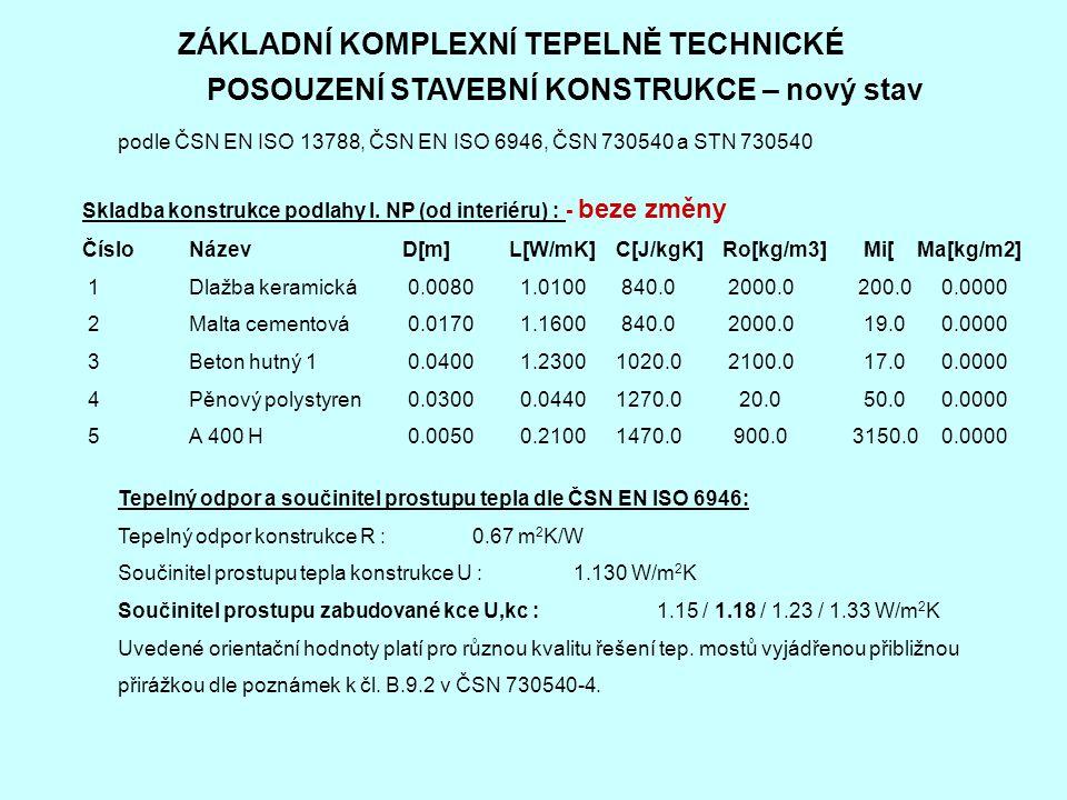 ZÁKLADNÍ KOMPLEXNÍ TEPELNĚ TECHNICKÉ POSOUZENÍ STAVEBNÍ KONSTRUKCE – nový stav podle ČSN EN ISO 13788, ČSN EN ISO 6946, ČSN 730540 a STN 730540 Skladba konstrukce podlahy I.
