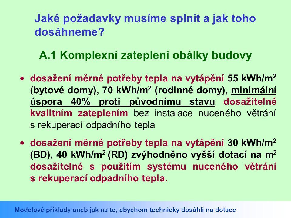 Potřeba tepla na vytápění za rok Q,H,nd: (38,651 GJ) 10,736 MWh Objem budovy stanovený z vnějších rozměrů: 704,0 m 3 Celková podlahová plocha budovy: 191,7 m 2 Měrná potřeba tepla na vytápění budovy (na 1 m 3 ): 15,3 kWh/(m 3.a) Měrná potřeba tepla na vytápění budovy: 56 kWh/(m 2.a) Snížení měrné potřeby tepla o 63% proti stáv.