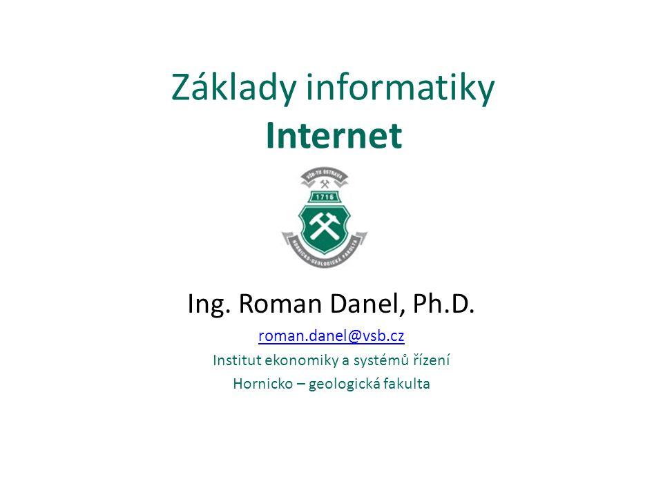 Historie Internetu 1969 – ARPANET Idea – odstranit centrální řízení a zajistit odolnost proti výpadkům – armáda ČR – připojení: 12.3.1992 Internet2 – akademická sféra Co je tedy Internet.