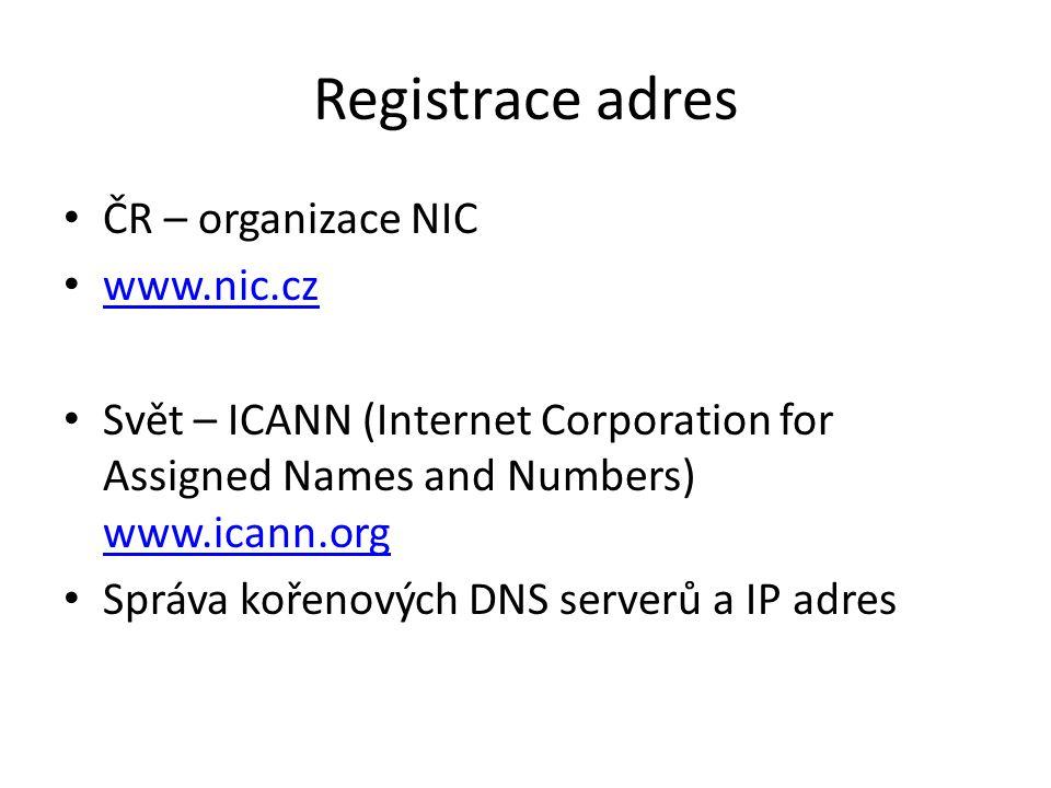 Registrace adres ČR – organizace NIC www.nic.cz Svět – ICANN (Internet Corporation for Assigned Names and Numbers) www.icann.org www.icann.org Správa kořenových DNS serverů a IP adres