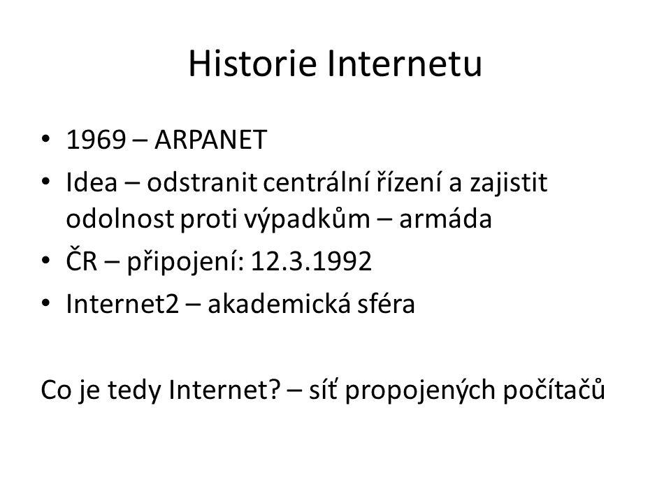 Princip Internetu Paketový přenos informací mezi počítači, které jsou jednoznačně určeny adresami Paket: IP zdroje, IP cíle, data Protokol: TCP/IP IP adresa verze 4 (32-bit) Budoucnost – IP v 6 (128 bit)