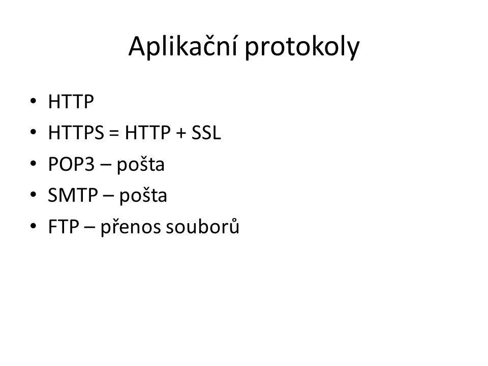 Aplikační protokoly HTTP HTTPS = HTTP + SSL POP3 – pošta SMTP – pošta FTP – přenos souborů