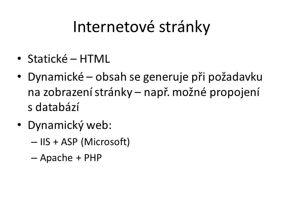 Internetové stránky Statické – HTML Dynamické – obsah se generuje při požadavku na zobrazení stránky – např.