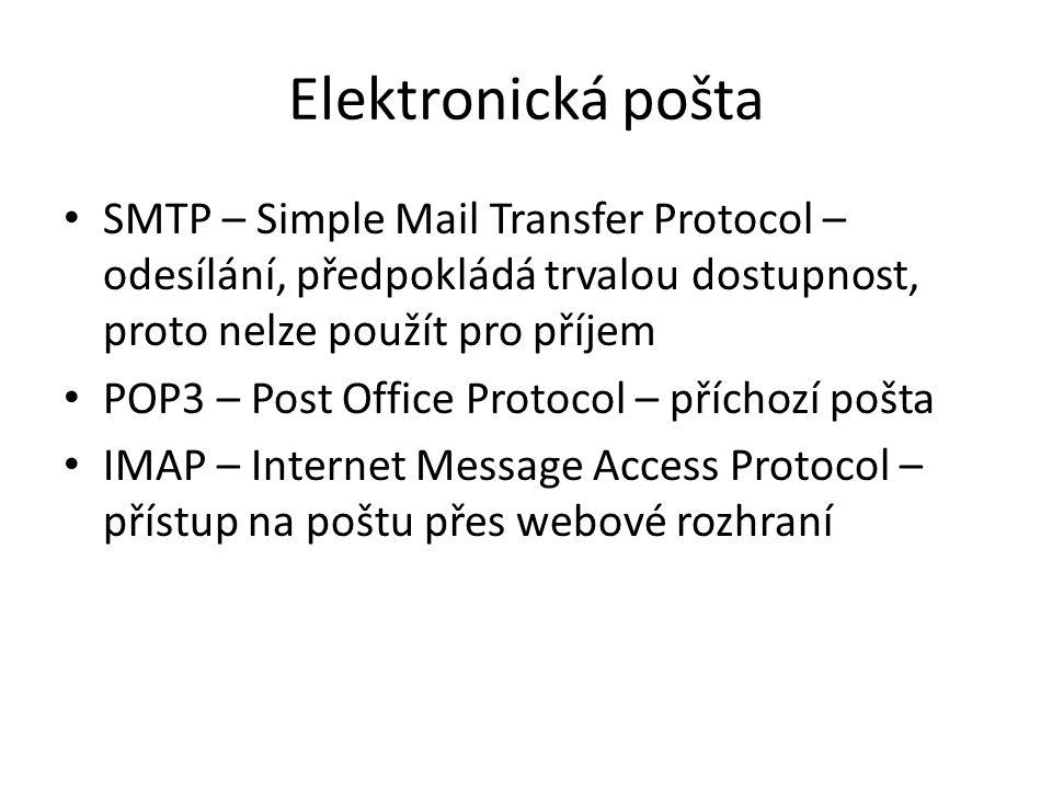 Elektronická pošta SMTP – Simple Mail Transfer Protocol – odesílání, předpokládá trvalou dostupnost, proto nelze použít pro příjem POP3 – Post Office Protocol – příchozí pošta IMAP – Internet Message Access Protocol – přístup na poštu přes webové rozhraní