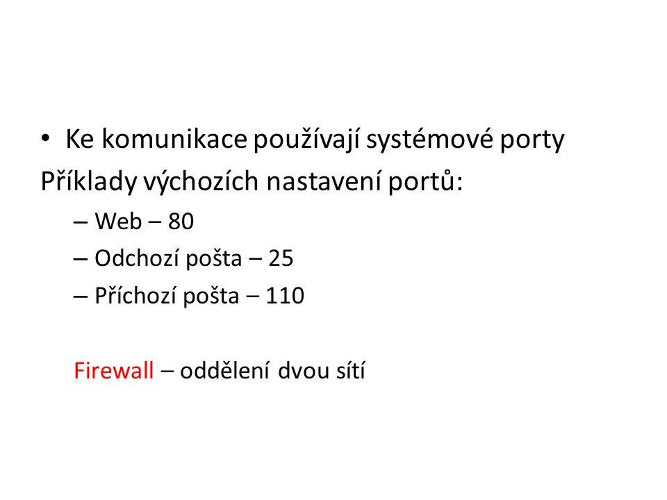 Ke komunikace používají systémové porty Příklady výchozích nastavení portů: – Web – 80 – Odchozí pošta – 25 – Příchozí pošta – 110 Firewall – oddělení dvou sítí