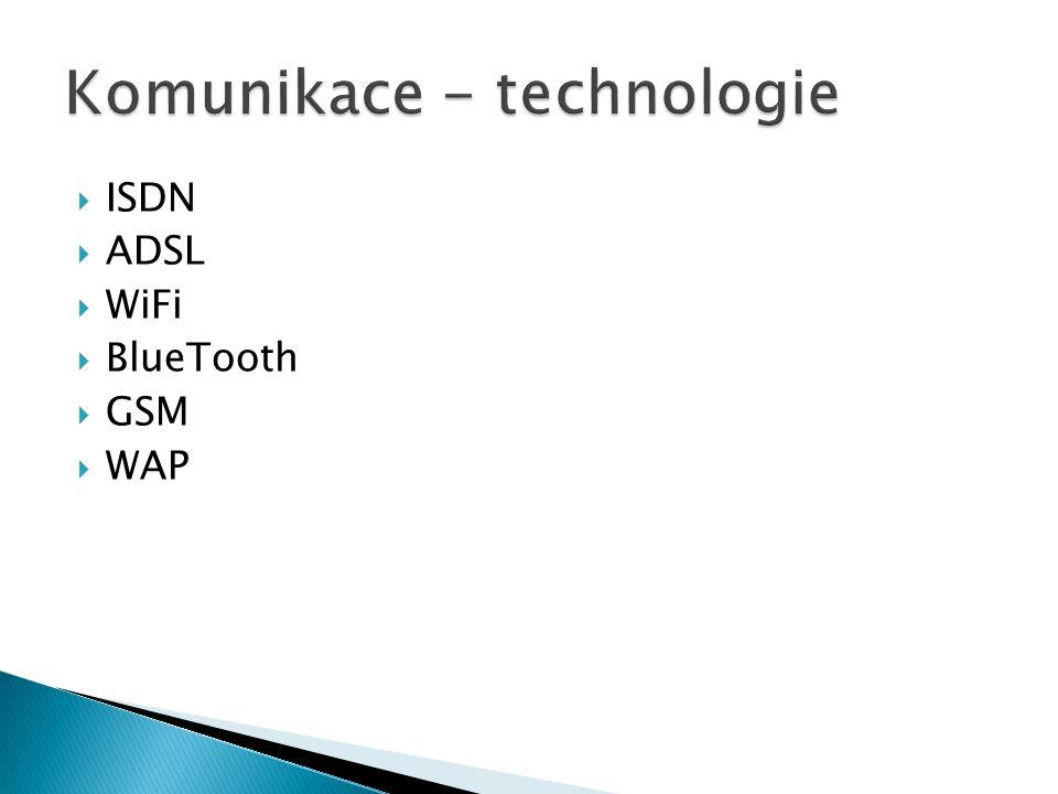 """ISDN = Integrated Services Digital Network  Digitální přenos, A/D a D/A až v přístroji  """"Digitální síť integrovaných služeb – plně digitální přenos až k účastníkovi (A/D a D/A převod signálu přímo v přístroji)."""