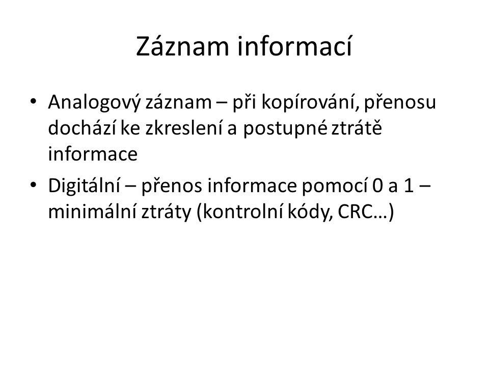 Záznam informací Analogový záznam – při kopírování, přenosu dochází ke zkreslení a postupné ztrátě informace Digitální – přenos informace pomocí 0 a 1 – minimální ztráty (kontrolní kódy, CRC…)