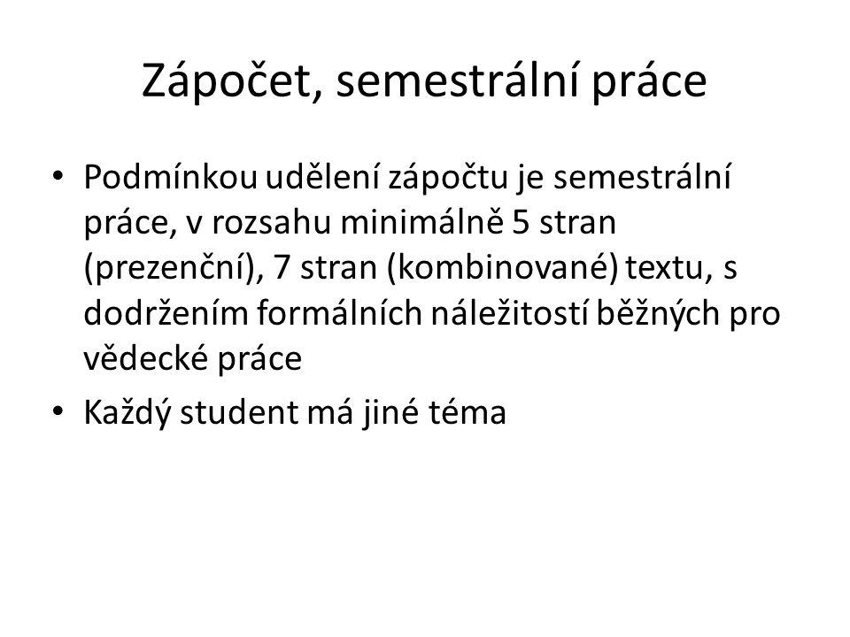 Zápočet, semestrální práce Podmínkou udělení zápočtu je semestrální práce, v rozsahu minimálně 5 stran (prezenční), 7 stran (kombinované) textu, s dod