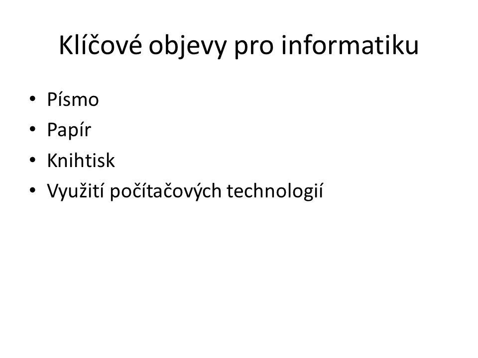 Klíčové objevy pro informatiku Písmo Papír Knihtisk Využití počítačových technologií