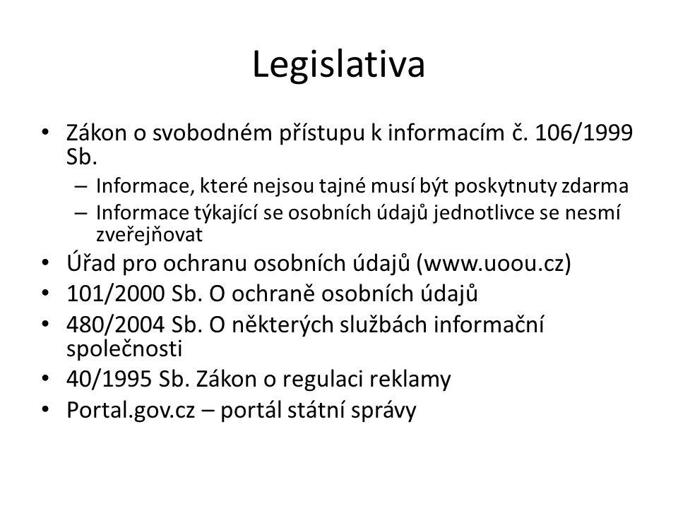 Legislativa Zákon o svobodném přístupu k informacím č. 106/1999 Sb. – Informace, které nejsou tajné musí být poskytnuty zdarma – Informace týkající se
