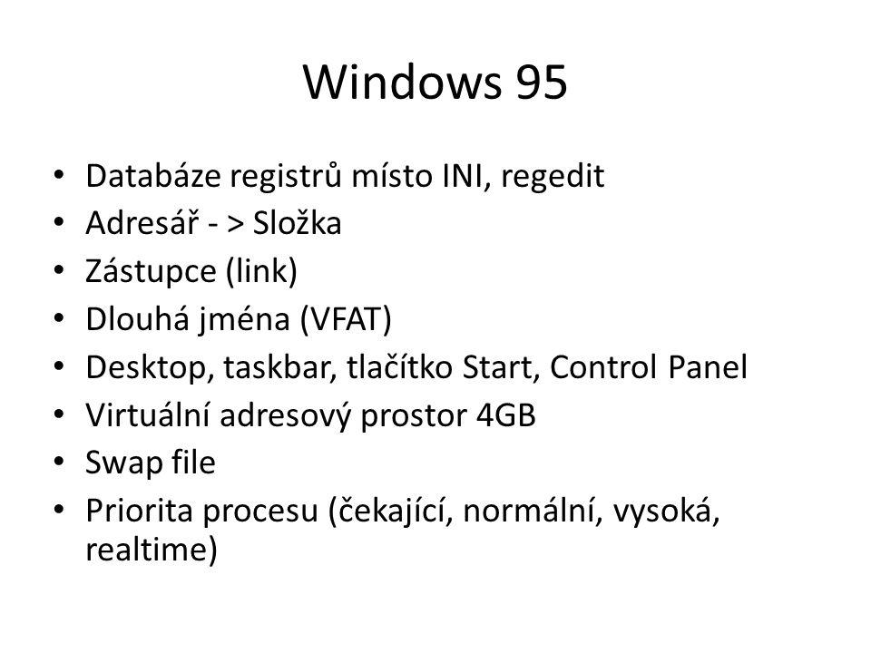 Windows 95 Databáze registrů místo INI, regedit Adresář - > Složka Zástupce (link) Dlouhá jména (VFAT) Desktop, taskbar, tlačítko Start, Control Panel Virtuální adresový prostor 4GB Swap file Priorita procesu (čekající, normální, vysoká, realtime)