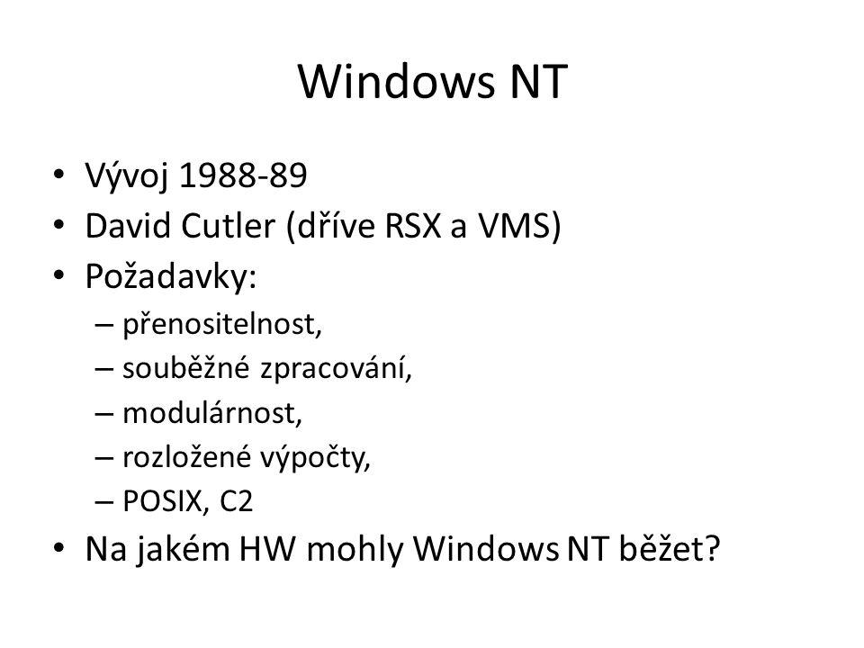 Windows NT Vývoj 1988-89 David Cutler (dříve RSX a VMS) Požadavky: – přenositelnost, – souběžné zpracování, – modulárnost, – rozložené výpočty, – POSIX, C2 Na jakém HW mohly Windows NT běžet