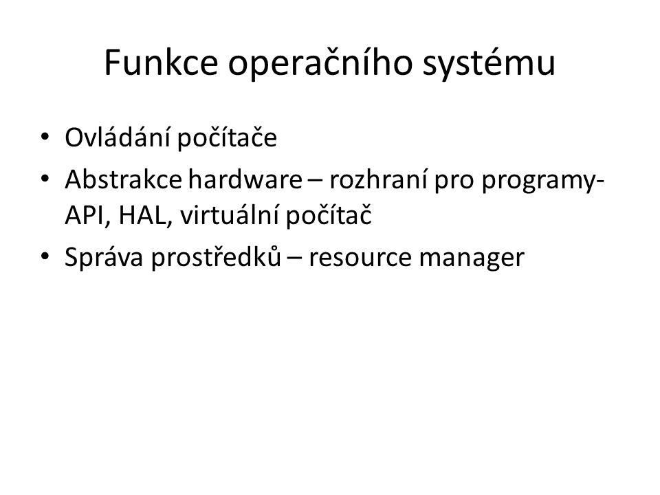Funkce operačního systému Ovládání počítače Abstrakce hardware – rozhraní pro programy- API, HAL, virtuální počítač Správa prostředků – resource manager