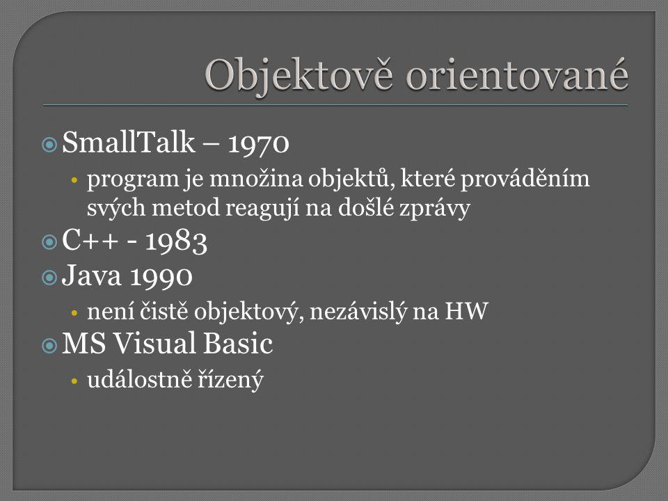  SmallTalk – 1970 program je množina objektů, které prováděním svých metod reagují na došlé zprávy  C++ - 1983  Java 1990 není čistě objektový, nezávislý na HW  MS Visual Basic událostně řízený