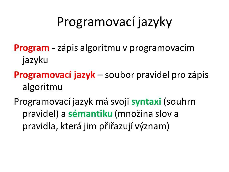 Program - zápis algoritmu v programovacím jazyku Programovací jazyk – soubor pravidel pro zápis algoritmu Programovací jazyk má svoji syntaxi (souhrn