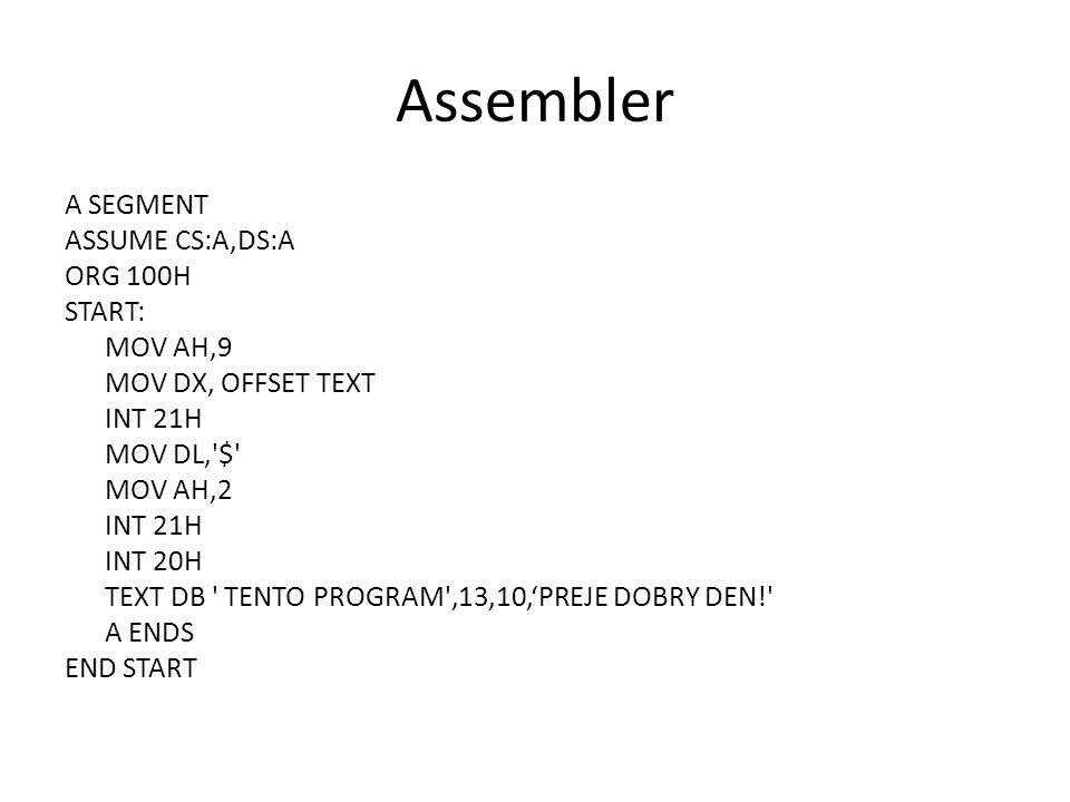 Assembler A SEGMENT ASSUME CS:A,DS:A ORG 100H START: MOV AH,9 MOV DX, OFFSET TEXT INT 21H MOV DL, $ MOV AH,2 INT 21H INT 20H TEXT DB TENTO PROGRAM ,13,10,'PREJE DOBRY DEN! A ENDS END START