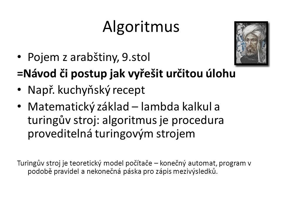 Algoritmus Pojem z arabštiny, 9.stol =Návod či postup jak vyřešit určitou úlohu Např. kuchyňský recept Matematický základ – lambda kalkul a turingův s