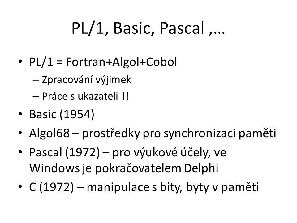PL/1, Basic, Pascal,… PL/1 = Fortran+Algol+Cobol – Zpracování výjimek – Práce s ukazateli !! Basic (1954) Algol68 – prostředky pro synchronizaci pamět