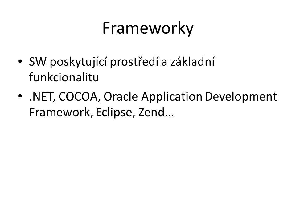 Frameworky SW poskytující prostředí a základní funkcionalitu.NET, COCOA, Oracle Application Development Framework, Eclipse, Zend…