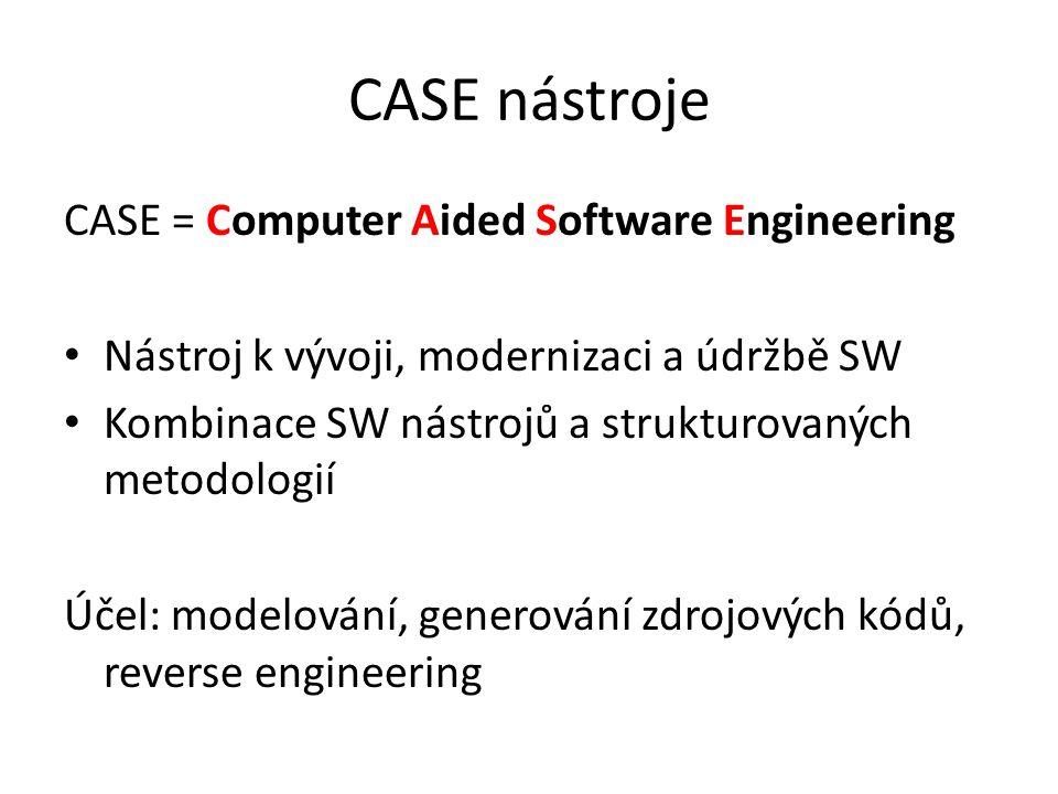 CASE = Computer Aided Software Engineering Nástroj k vývoji, modernizaci a údržbě SW Kombinace SW nástrojů a strukturovaných metodologií Účel: modelování, generování zdrojových kódů, reverse engineering