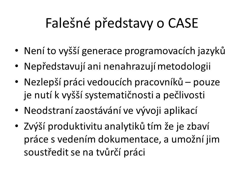 Falešné představy o CASE Není to vyšší generace programovacích jazyků Nepředstavují ani nenahrazují metodologii Nezlepší práci vedoucích pracovníků –
