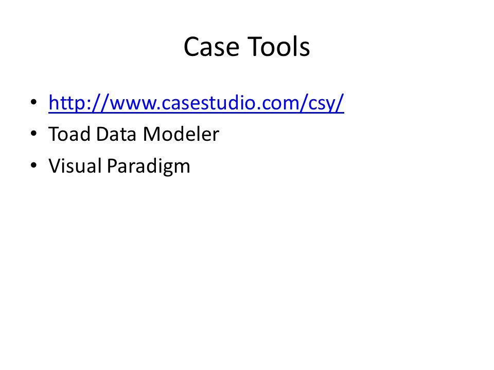 Case Tools http://www.casestudio.com/csy/ Toad Data Modeler Visual Paradigm