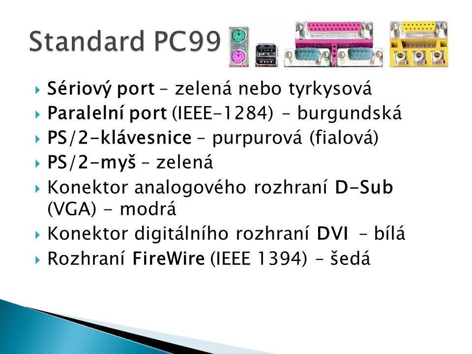  Sériový port – zelená nebo tyrkysová  Paralelní port (IEEE-1284) – burgundská  PS/2-klávesnice – purpurová (fialová)  PS/2-myš – zelená  Konektor analogového rozhraní D-Sub (VGA) - modrá  Konektor digitálního rozhraní DVI– bílá  Rozhraní FireWire (IEEE 1394) – šedá