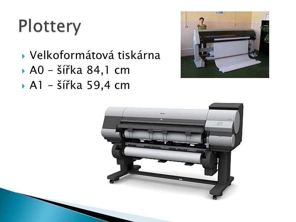  Velkoformátová tiskárna  A0 – šířka 84,1 cm  A1 – šířka 59,4 cm