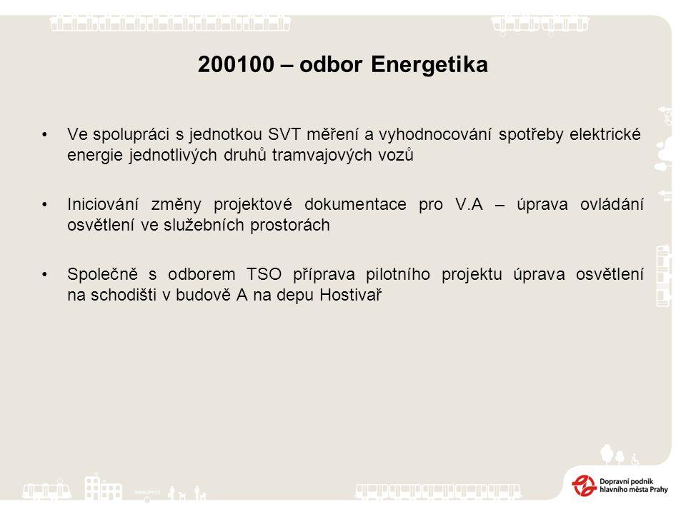 200100 – odbor Energetika Ve spolupráci s jednotkou SVT měření a vyhodnocování spotřeby elektrické energie jednotlivých druhů tramvajových vozů Iniciování změny projektové dokumentace pro V.A – úprava ovládání osvětlení ve služebních prostorách Společně s odborem TSO příprava pilotního projektu úprava osvětlení na schodišti v budově A na depu Hostivař