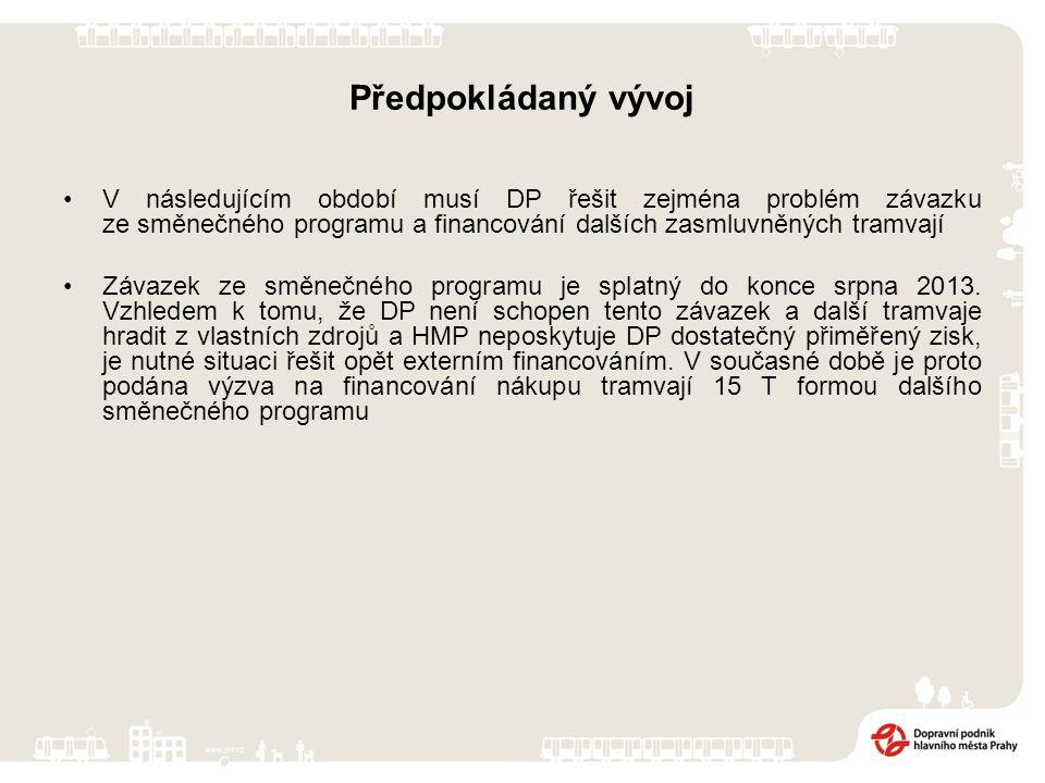 Předpokládaný vývoj V následujícím období musí DP řešit zejména problém závazku ze směnečného programu a financování dalších zasmluvněných tramvají Závazek ze směnečného programu je splatný do konce srpna 2013.