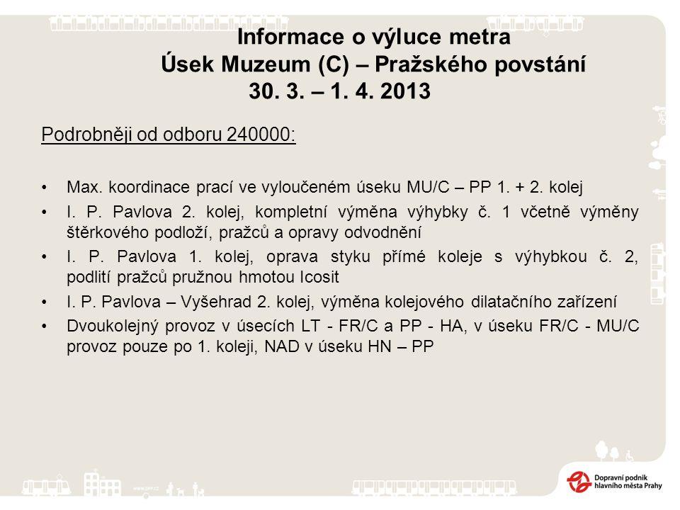 Informace o výluce metra Úsek Muzeum (C) – Pražského povstání 30.