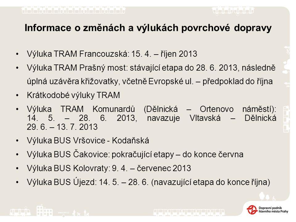 Výluka TRAM Francouzská: 15. 4. – říjen 2013 Výluka TRAM Prašný most: stávající etapa do 28.
