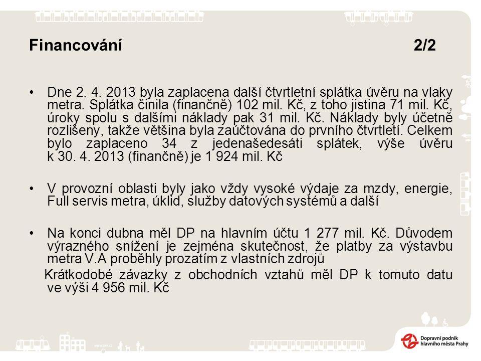 Financování2/2 Dne 2. 4. 2013 byla zaplacena další čtvrtletní splátka úvěru na vlaky metra.