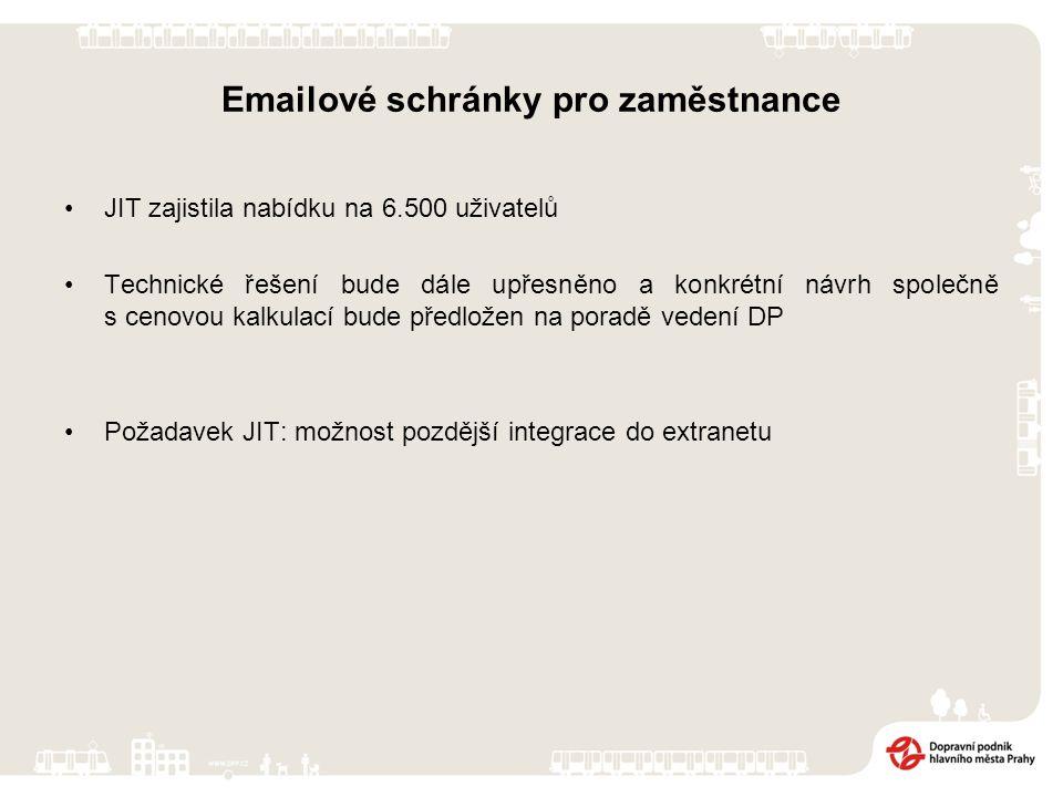 Emailové schránky pro zaměstnance JIT zajistila nabídku na 6.500 uživatelů Technické řešení bude dále upřesněno a konkrétní návrh společně s cenovou kalkulací bude předložen na poradě vedení DP Požadavek JIT: možnost pozdější integrace do extranetu