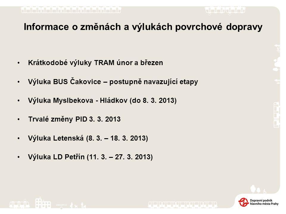 Informace o změnách a výlukách povrchové dopravy Krátkodobé výluky TRAM únor a březen Výluka BUS Čakovice – postupně navazující etapy Výluka Myslbekova - Hládkov (do 8.