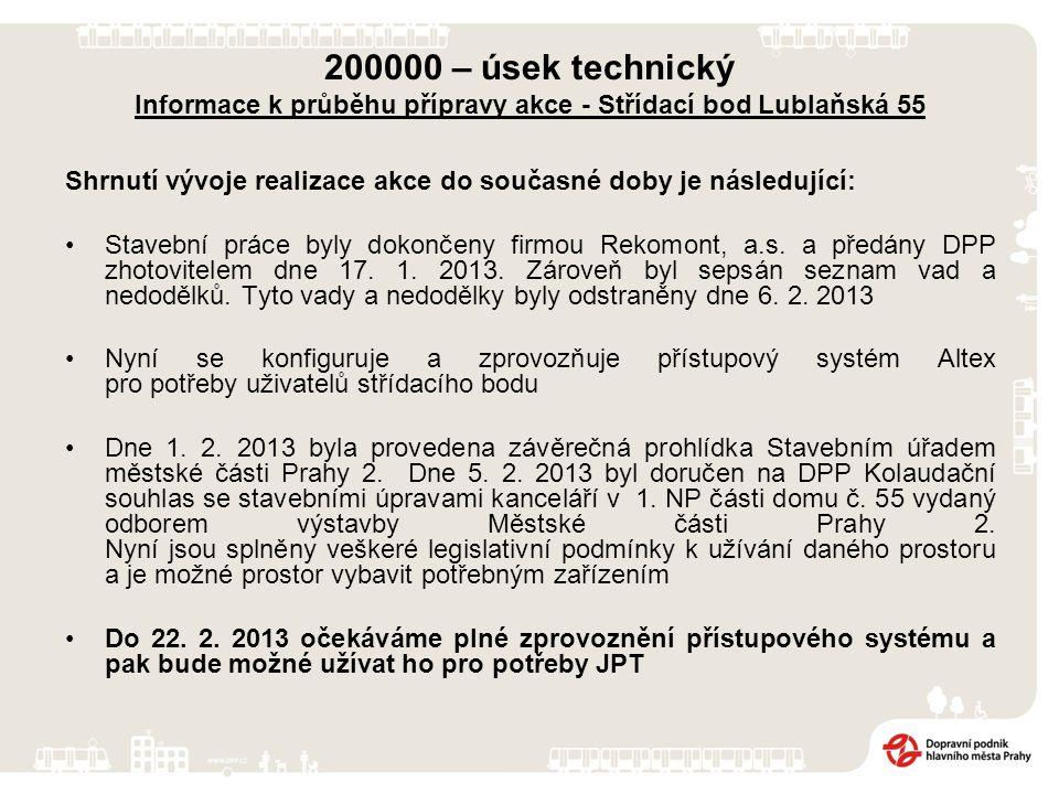 200000 – úsek technický Informace k průběhu přípravy akce - Střídací bod Lublaňská 55 Shrnutí vývoje realizace akce do současné doby je následující: Stavební práce byly dokončeny firmou Rekomont, a.s.