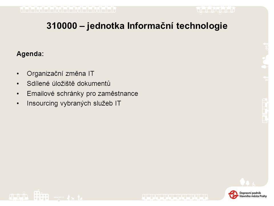 310000 – jednotka Informační technologie Agenda: Organizační změna IT Sdílené úložiště dokumentů Emailové schránky pro zaměstnance Insourcing vybraných služeb IT