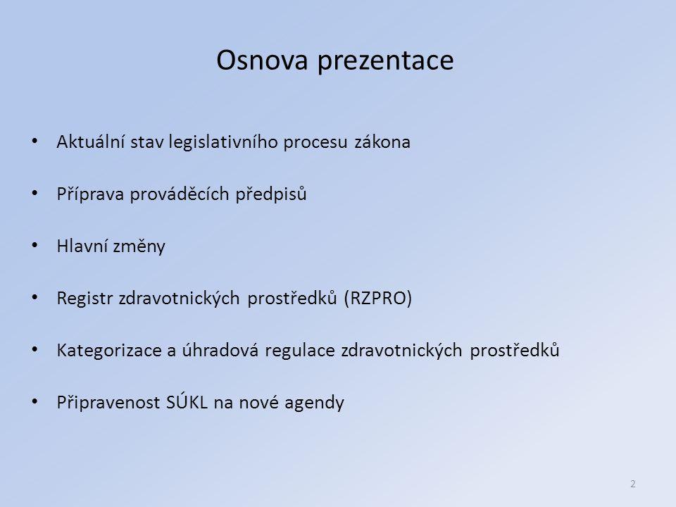 2 Osnova prezentace Aktuální stav legislativního procesu zákona Příprava prováděcích předpisů Hlavní změny Registr zdravotnických prostředků (RZPRO) Kategorizace a úhradová regulace zdravotnických prostředků Připravenost SÚKL na nové agendy