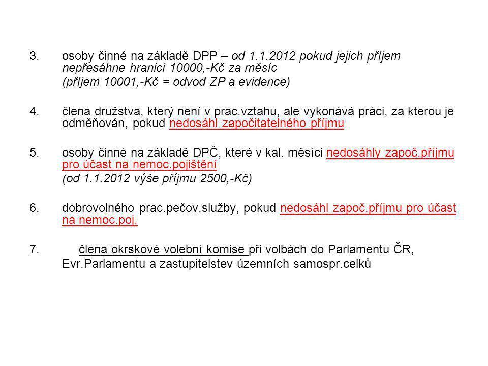 3.osoby činné na základě DPP – od 1.1.2012 pokud jejich příjem nepřesáhne hranici 10000,-Kč za měsíc (příjem 10001,-Kč = odvod ZP a evidence) 4.člena