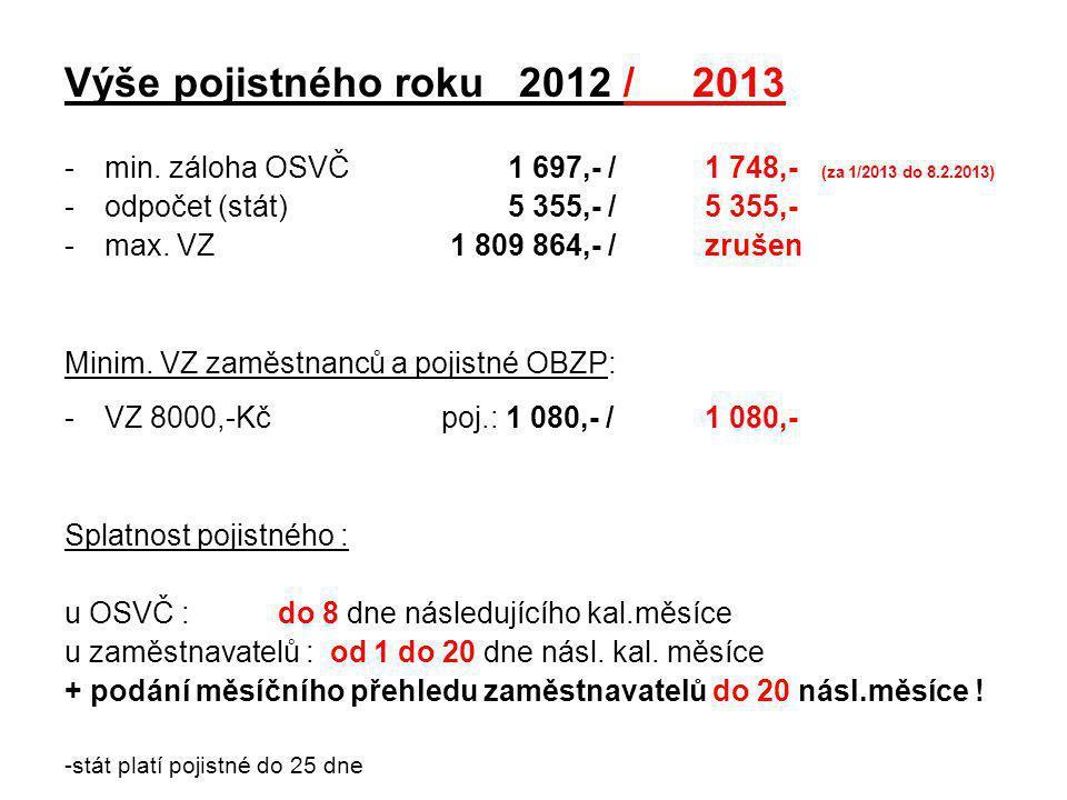 Výše pojistného roku 2012 / 2013 -min. záloha OSVČ 1 697,- / 1 748,- (za 1/2013 do 8.2.2013) -odpočet (stát) 5 355,- /5 355,- -max. VZ 1 809 864,- /zr