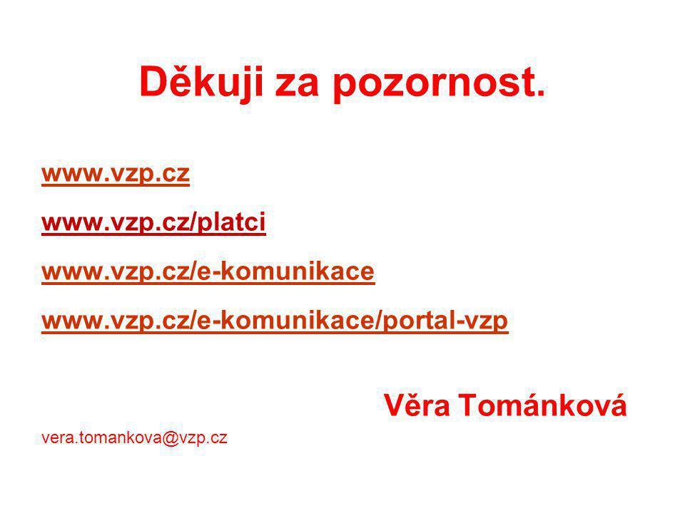 Děkuji za pozornost. www.vzp.cz www.vzp.cz/platci www.vzp.cz/e-komunikace www.vzp.cz/e-komunikace/portal-vzp Věra Tománková vera.tomankova@vzp.cz