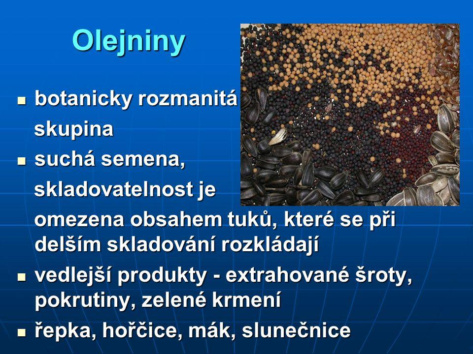 Olejniny botanicky rozmanitá botanicky rozmanitá skupina skupina suchá semena, suchá semena, skladovatelnost je skladovatelnost je omezena obsahem tuk