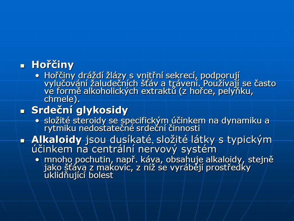 Hořčiny Hořčiny Hořčiny dráždí žlázy s vnitřní sekrecí, podporují vylučování žaludečních šťáv a trávení. Používají se často ve formě alkoholických ext