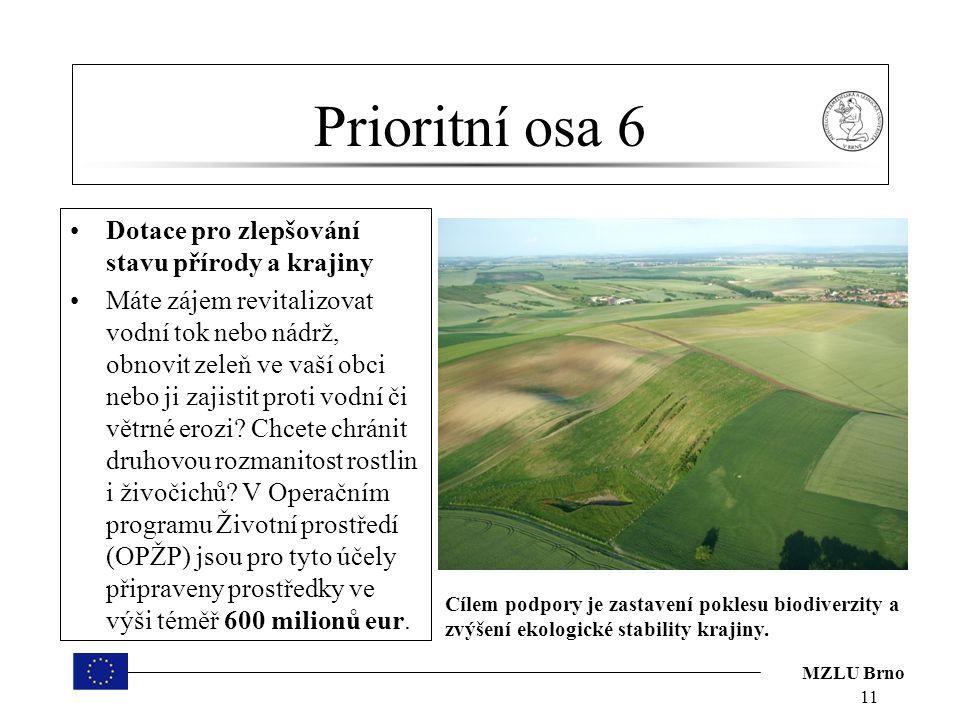 MZLU Brno Prioritní osa 6 Dotace pro zlepšování stavu přírody a krajiny Máte zájem revitalizovat vodní tok nebo nádrž, obnovit zeleň ve vaší obci nebo ji zajistit proti vodní či větrné erozi.