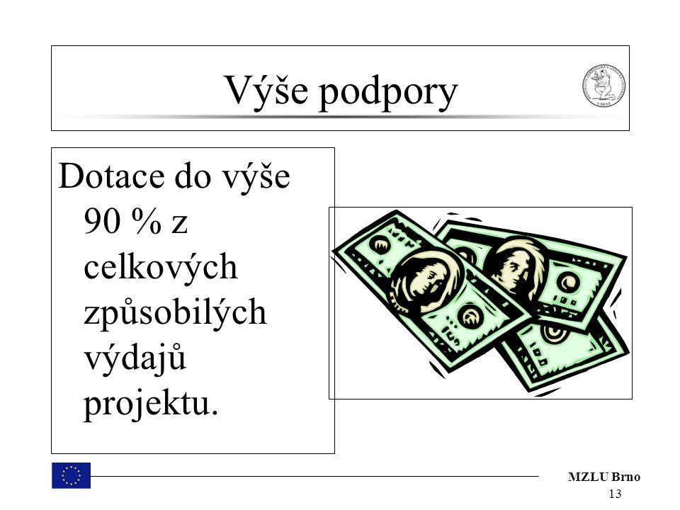 MZLU Brno Výše podpory Dotace do výše 90 % z celkových způsobilých výdajů projektu. 13