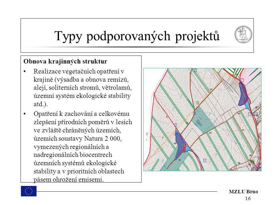 MZLU Brno Typy podporovaných projektů Obnova krajinných struktur Realizace vegetačních opatření v krajině (výsadba a obnova remízů, alejí, soliterních stromů, větrolamů, územní systém ekologické stability atd.).