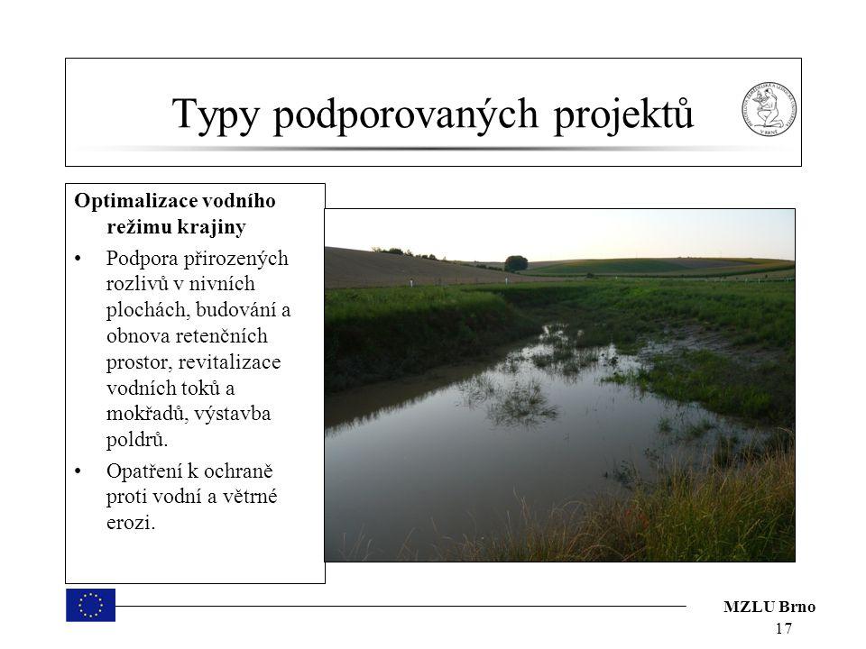 MZLU Brno Typy podporovaných projektů Optimalizace vodního režimu krajiny Podpora přirozených rozlivů v nivních plochách, budování a obnova retenčních prostor, revitalizace vodních toků a mokřadů, výstavba poldrů.