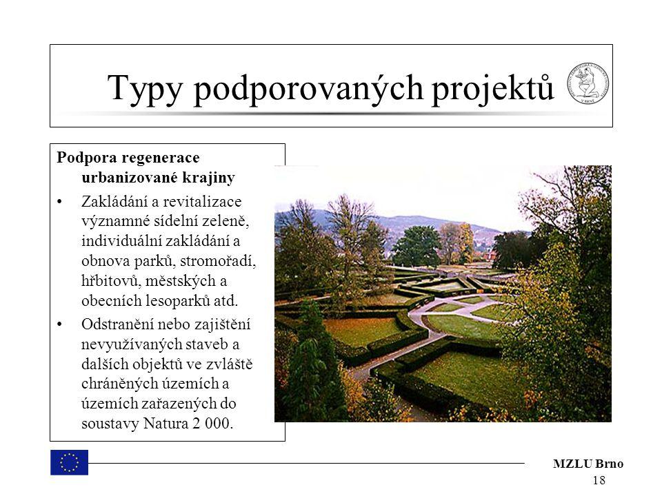 MZLU Brno Typy podporovaných projektů Podpora regenerace urbanizované krajiny Zakládání a revitalizace významné sídelní zeleně, individuální zakládání a obnova parků, stromořadí, hřbitovů, městských a obecních lesoparků atd.