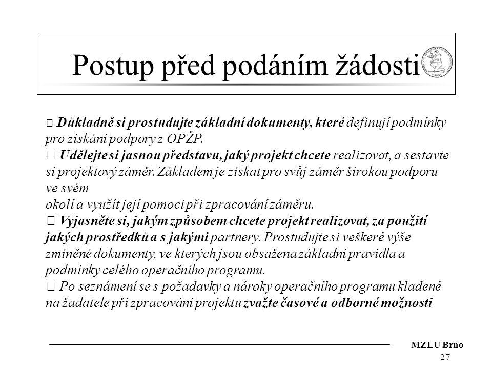 MZLU Brno Postup před podáním žádosti 27  Důkladně si prostudujte základní dokumenty, které definují podmínky pro získání podpory z OPŽP.